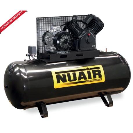 Compresseur d'air à courroie NUAIR 500 litres 7,5 cv cylindre en V