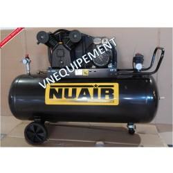 Compresseur d'air à piston 200 litres moteur 3 CV tête bi-cylindre NUAIR