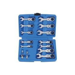 Coffret de clés mixtes à cliquet courtes tête articulée métriques avec adaptateurs - 16 pièces