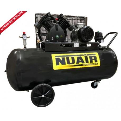 Compresseur d'air bi-étagé 270 litres moteur triphasé de 5,5 CV NUAIR