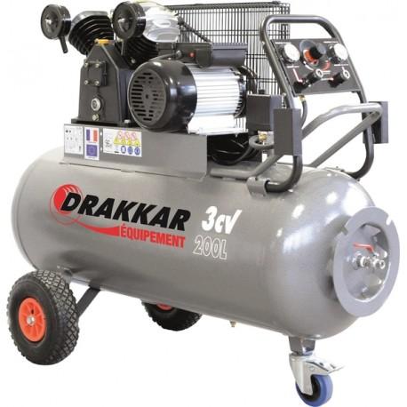 Compresseur d'air 3CV 200 litres 230V - 11274 Drakkar Equipement
