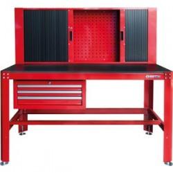Établi d'atelier avec armoire à rideau et tiroirs