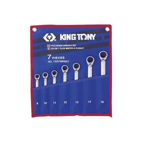 Trousse de clés mixtes à cliquet métriques - 7 pièces - King Tony - 12207MRN01
