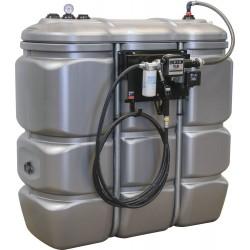 Cuve stockage gasoil PEHD DP 1500 litres avec station à gasoil 230V 56L/min