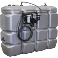 Cuve de stockage gasoil PEHD DP 2000 litres avec station à gasoil 56L/min